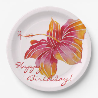 Colorful Hawaiian Floral Birthday Paper Plates 9 Inch Paper Plate