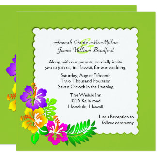 Colorful Hawaiian Tropical Wedding Invitation