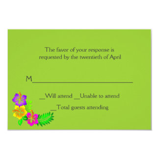 Colorful Hawaiian Tropical Wedding RSVP Card