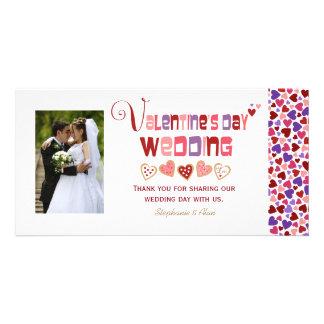 Colorful Heart Cookies Valentine's Day Wedding Custom Photo Card