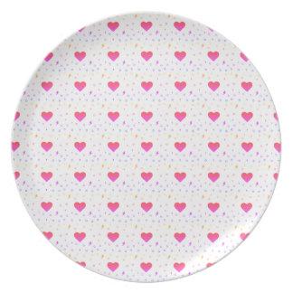 Colorful Heart Kawaii Pattern Plate