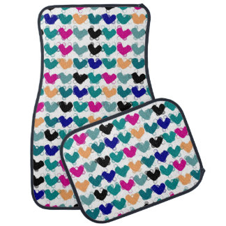 Colorful heart pattern, abstract car mat