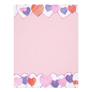 Colorful Hearts Border on Pink Letterhead