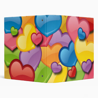 COLORFUL HEARTS COLLAGE 3 RING BINDER
