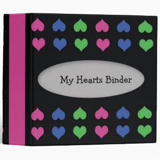 Colorful Hearts designer 2 inch binder