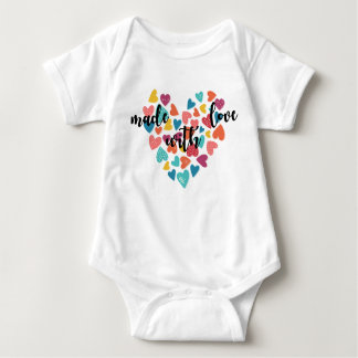 Colorful Hearts Made With Love Baby Bodysuit