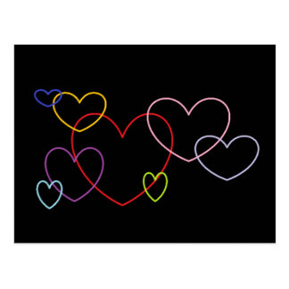 Colorful Hearts on Black Background Postcard