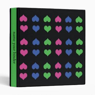 Colorful Hearts Pattern Black Vinyl Binder