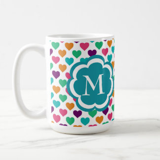 Colorful Hearts Pattern Monogram Mug