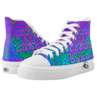 Colorful Hearts Pattern on Blue High Tops