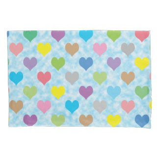 Colorful hearts pattern pillowcase