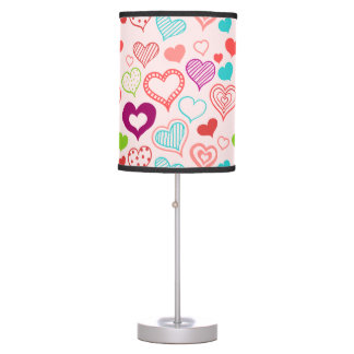 Colorful hearts pattern table lamp