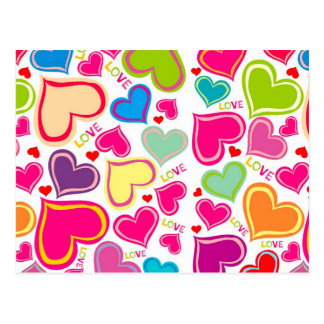 colorful hearts postcard