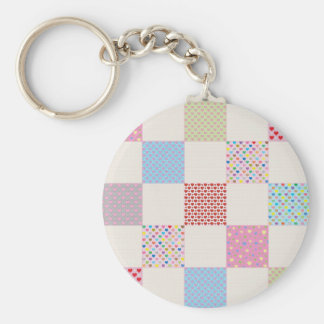 Colorful hearts quilt pattern basic round button keychain
