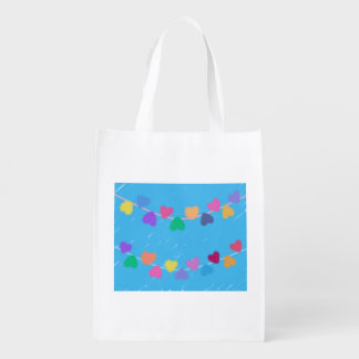 Colorful Hearts Reusable Grocery Bag
