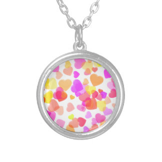 Colorful Hearts Silver Plated Necklace