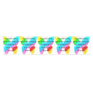 COLORFUL HEBREWS 11:1 BUTTERFLY DESIGN SHORT TABLE RUNNER