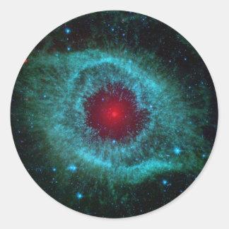 Colorful helix nebula round sticker