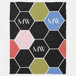 Colorful Hexagon in Modern Colors With Monogram Fleece Blanket