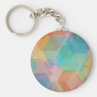 Colorful hexagon pattern basic round button keychain