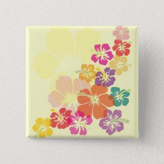 Colorful Hibiscus 2 Inch Square Button