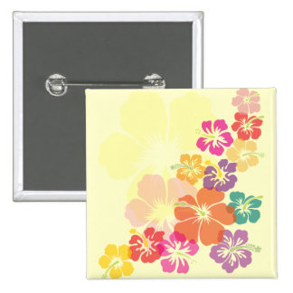 Colorful Hibiscus 2 Inch Square Button