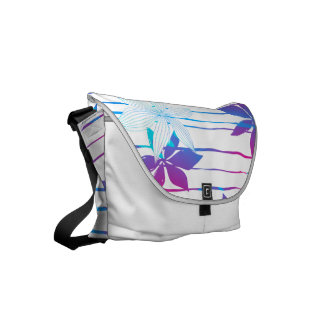 Colorful hibiscus flowers and stripes commuter bag