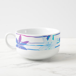 Colorful hibiscus flowers and stripes soup bowl with handle