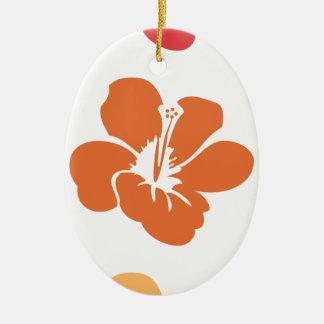 Colorful Hibiscus Flowers Ceramic Ornament
