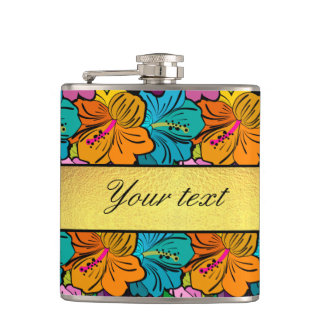 Colorful Hibiscus Flowers Pattern Hip Flask