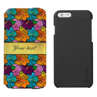 Colorful Hibiscus Flowers Pattern Incipio Watson™ iPhone 6 Wallet Case