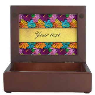 Colorful Hibiscus Flowers Pattern Memory Box