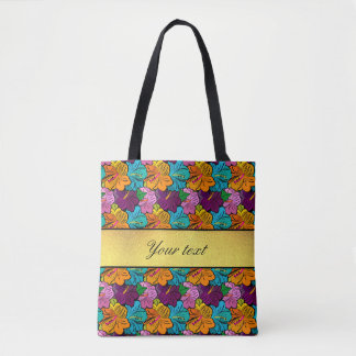 Colorful Hibiscus Flowers Pattern Tote Bag