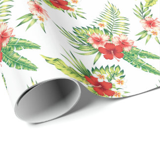 Colorful Hibiscus Pattern Custom Background Wrapping Paper