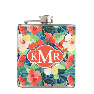 Colorful Hibiscus Pattern   Monogram Flask