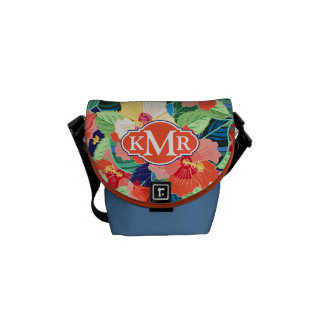 Colorful Hibiscus Pattern | Monogram Messenger Bag