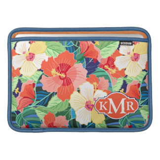 Colorful Hibiscus Pattern | Monogram Sleeve For MacBook Air