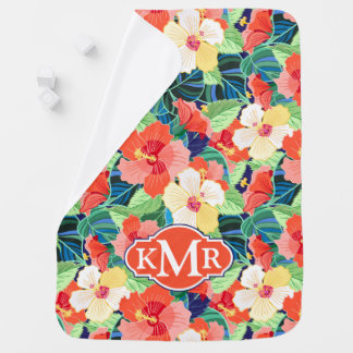 Colorful Hibiscus Pattern | Monogram Swaddle Blanket