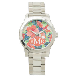 Colorful Hibiscus Pattern | Monogram Wrist Watches