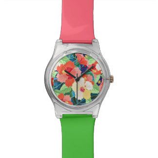 Colorful Hibiscus Pattern Watch