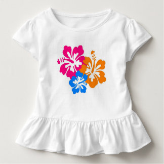 Colorful Hibiscus Toddler Ruffle T Shirt