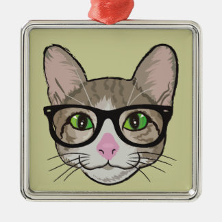 Colorful Hipster Cat Silver-Colored Square Ornament