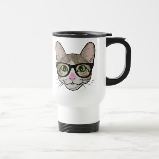 Colorful Hipster Cat Travel Mug
