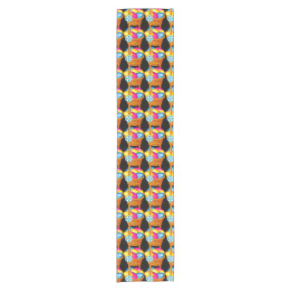 Colorful holiday pattern with Easter basket Short Table Runner