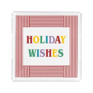 Colorful Holiday Wishes Typography Acrylic Tray