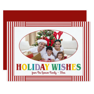 Colorful Holiday Wishes Typography Photo Card