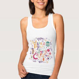 Colorful Holly Jolly Christmas Wreath Tank Top