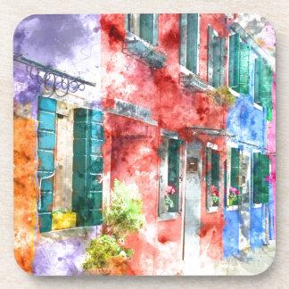 Colorful Homes in Burano Italy near Venice Coaster