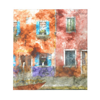 Colorful Homes in Burano Italy near Venice Notepad