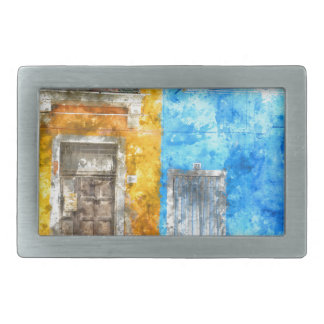 Colorful Homes in Burano Italy near Venice Rectangular Belt Buckles